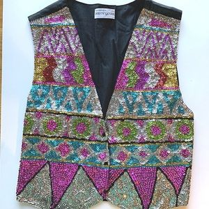 Vintage 90s Sequin Vest Beaded Adjustable